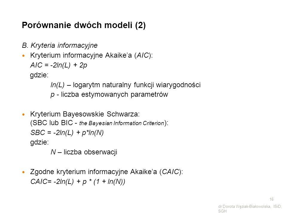 Porównanie dwóch modeli (2) B. Kryteria informacyjne Kryterium informacyjne Akaike'a (AIC): AIC = -2ln(L) + 2p gdzie: ln(L) – logarytm naturalny funkc