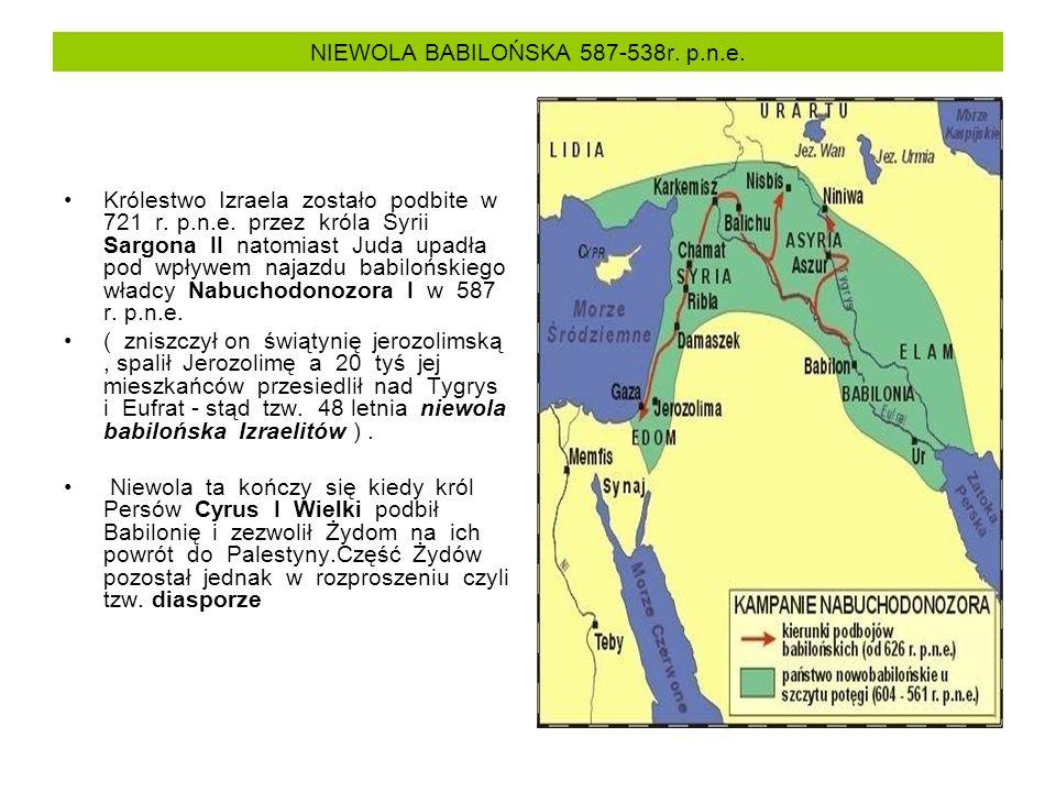 NIEWOLA BABILOŃSKA 587-538r. p.n.e. Królestwo Izraela zostało podbite w 721 r. p.n.e. przez króla Syrii Sargona II natomiast Juda upadła pod wpływem n