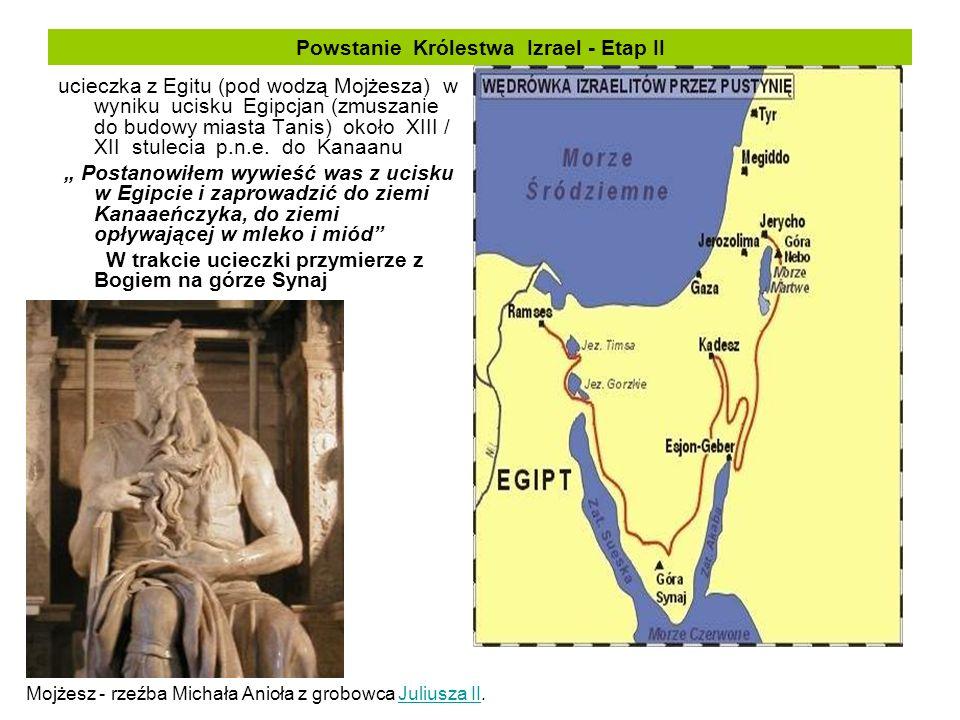 Powstanie Królestwa Izrael - Etap II ucieczka z Egitu (pod wodzą Mojżesza) w wyniku ucisku Egipcjan (zmuszanie do budowy miasta Tanis) około XIII / XI