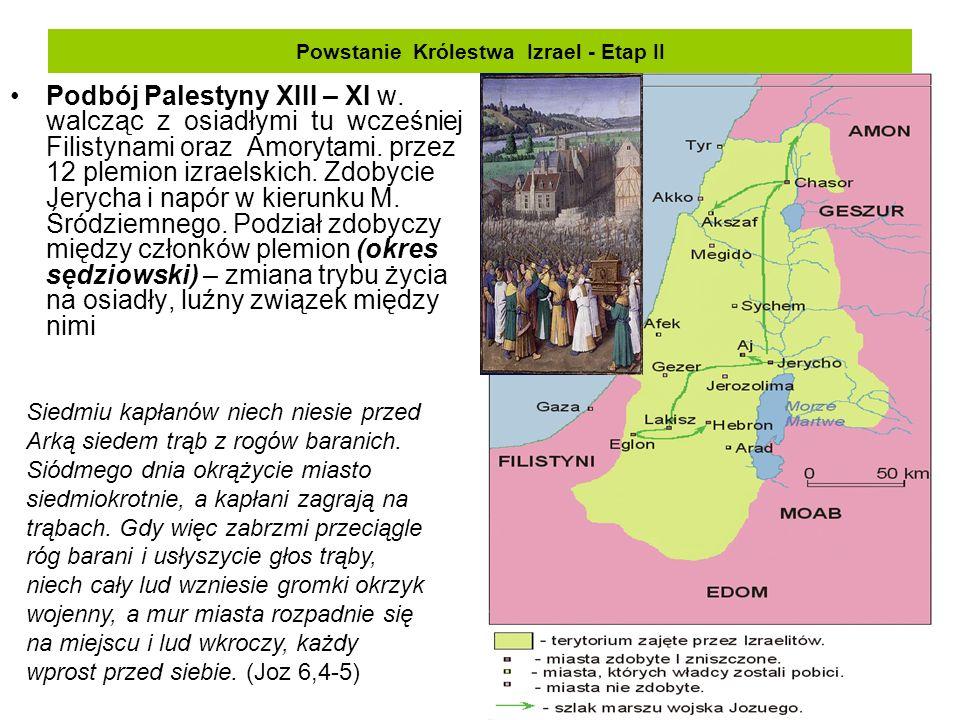 Powstanie Królestwa Izrael - Etap II Podbój Palestyny XIII – XI w. walcząc z osiadłymi tu wcześniej Filistynami oraz Amorytami. przez 12 plemion izrae
