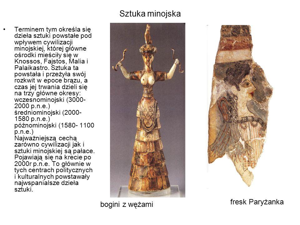 Sztuka minojska Terminem tym określa się dzieła sztuki powstałe pod wpływem cywilizacji minojskiej, której główne ośrodki mieściły się w Knossos, Fajs