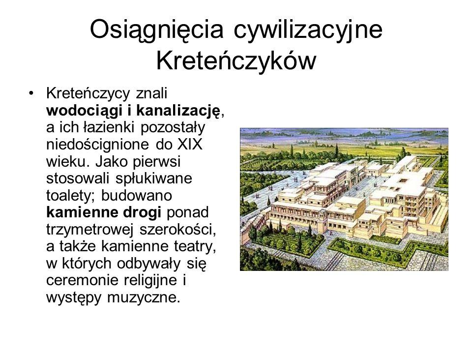 Osiągnięcia cywilizacyjne Kreteńczyków Kreteńczycy znali wodociągi i kanalizację, a ich łazienki pozostały niedoścignione do XIX wieku. Jako pierwsi s