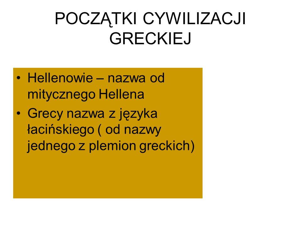 POCZĄTKI CYWILIZACJI GRECKIEJ Hellenowie – nazwa od mitycznego Hellena Grecy nazwa z języka łacińskiego ( od nazwy jednego z plemion greckich)