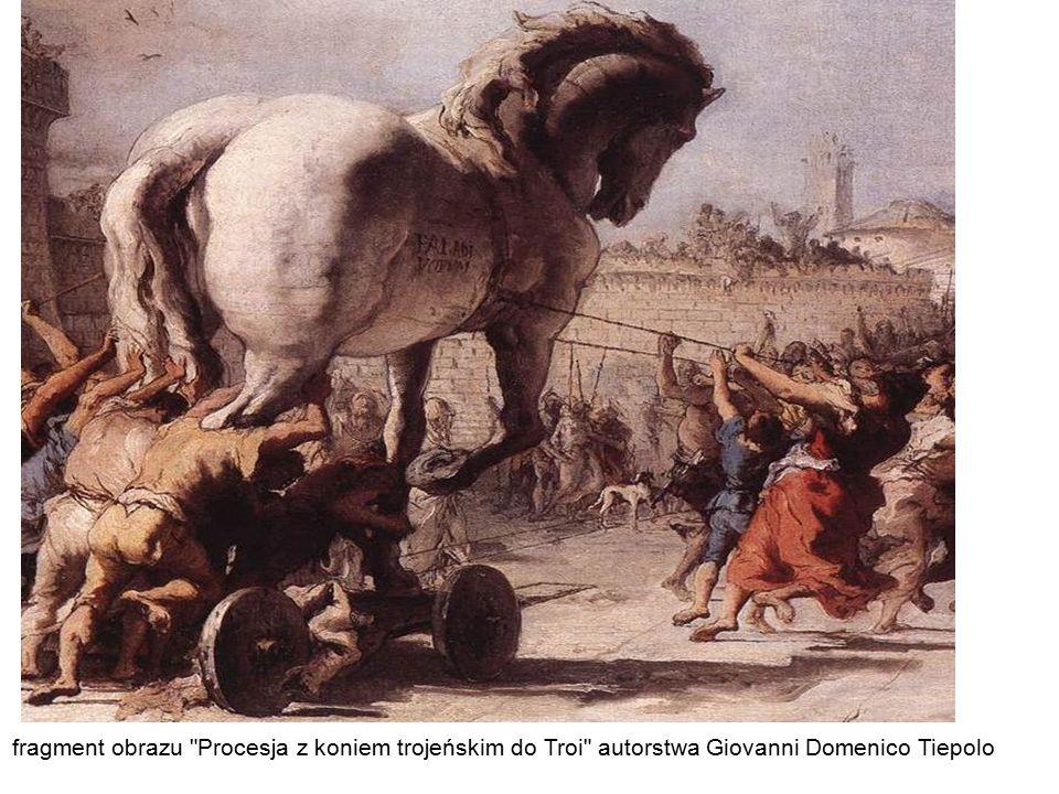 fragment obrazu Procesja z koniem trojeńskim do Troi autorstwa Giovanni Domenico Tiepolo