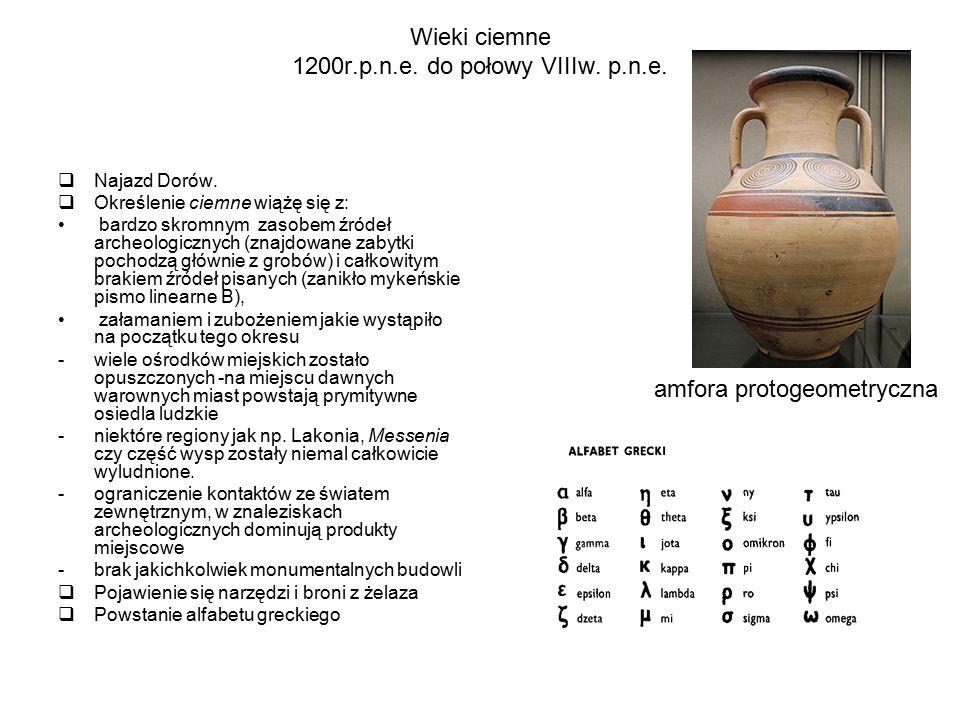 Wieki ciemne 1200r.p.n.e. do połowy VIIIw. p.n.e.  Najazd Dorów.  Określenie ciemne wiążę się z: bardzo skromnym zasobem źródeł archeologicznych (zn
