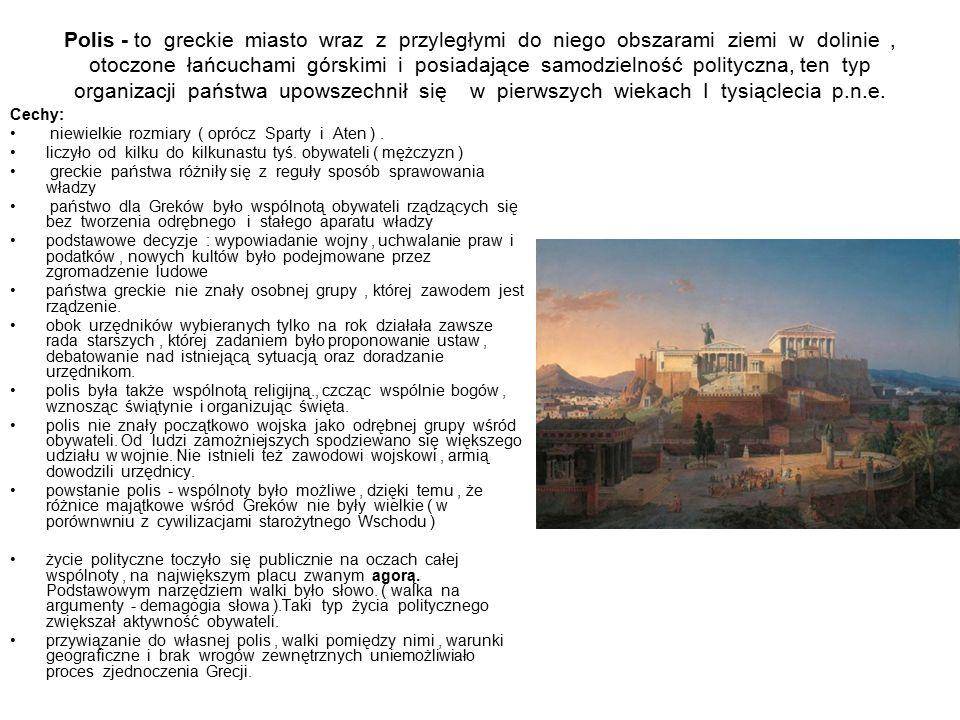 Polis - to greckie miasto wraz z przyległymi do niego obszarami ziemi w dolinie, otoczone łańcuchami górskimi i posiadające samodzielność polityczna, ten typ organizacji państwa upowszechnił się w pierwszych wiekach I tysiąclecia p.n.e.