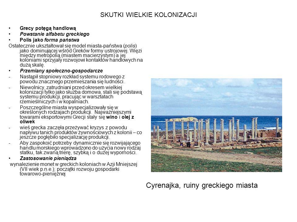 SKUTKI WIELKIE KOLONIZACJI Grecy potęgą handlową Powstanie alfabetu greckiego Polis jako forma państwa Ostatecznie ukształtował się model miasta-państwa (polis) jako dominującej wśród Greków formy ustrojowej.