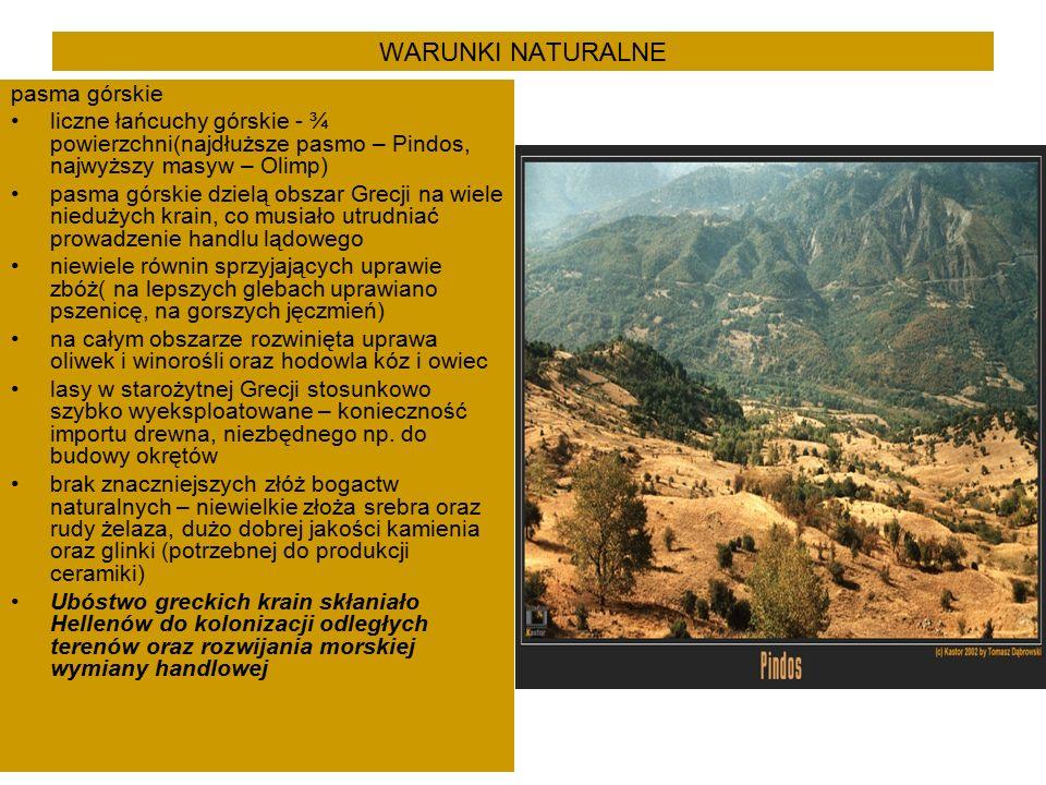 WARUNKI NATURALNE pasma górskie liczne łańcuchy górskie - ¾ powierzchni(najdłuższe pasmo – Pindos, najwyższy masyw – Olimp) pasma górskie dzielą obszar Grecji na wiele niedużych krain, co musiało utrudniać prowadzenie handlu lądowego niewiele równin sprzyjających uprawie zbóż( na lepszych glebach uprawiano pszenicę, na gorszych jęczmień) na całym obszarze rozwinięta uprawa oliwek i winorośli oraz hodowla kóz i owiec lasy w starożytnej Grecji stosunkowo szybko wyeksploatowane – konieczność importu drewna, niezbędnego np.