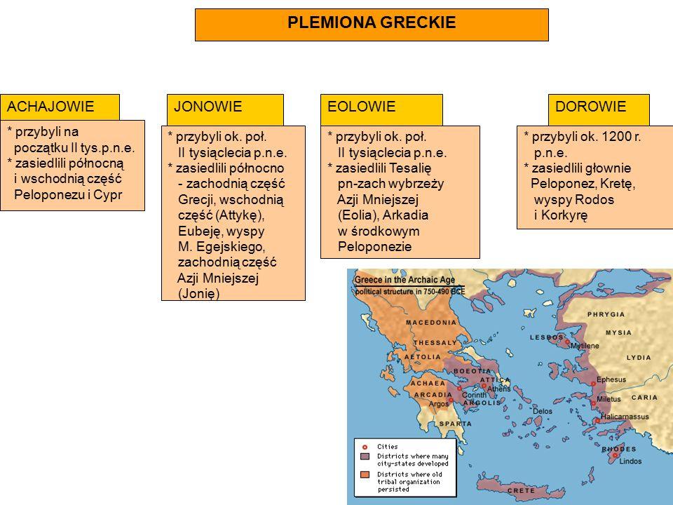PLEMIONA GRECKIE ACHAJOWIE * przybyli na początku II tys.p.n.e. * zasiedlili północną i wschodnią część Peloponezu i Cypr JONOWIE * przybyli ok. poł.