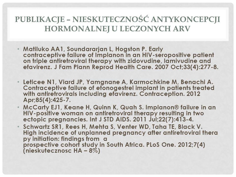 PUBLIKACJE – NIESKUTECZNOŚĆ ANTYKONCEPCJI HORMONALNEJ U LECZONYCH ARV Matiluko AA1, Soundararjan L, Hogston P.