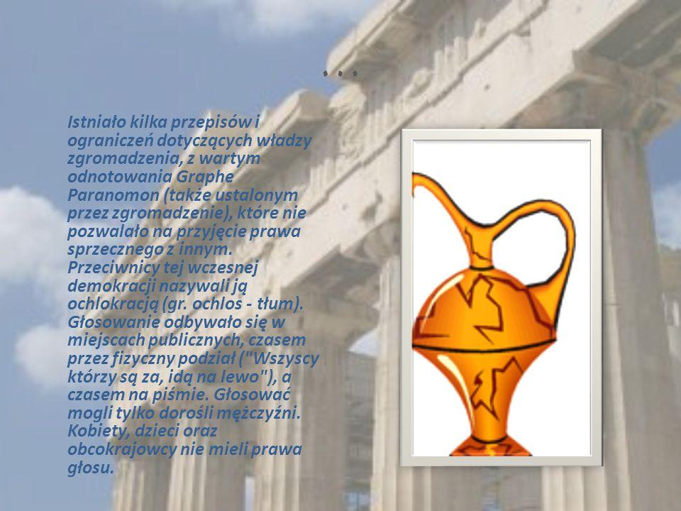 … Istniało kilka przepisów i ograniczeń dotyczących władzy zgromadzenia, z wartym odnotowania Graphe Paranomon (także ustalonym przez zgromadzenie), które nie pozwalało na przyjęcie prawa sprzecznego z innym.