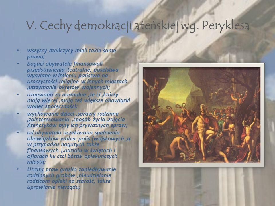 V. Cechy demokracji ate ń skiej wg.