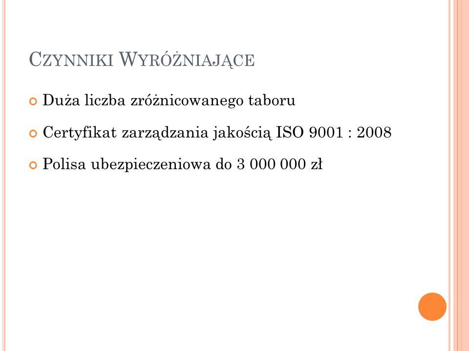 C ZYNNIKI W YRÓŻNIAJĄCE Duża liczba zróżnicowanego taboru Certyfikat zarządzania jakością ISO 9001 : 2008 Polisa ubezpieczeniowa do 3 000 000 zł