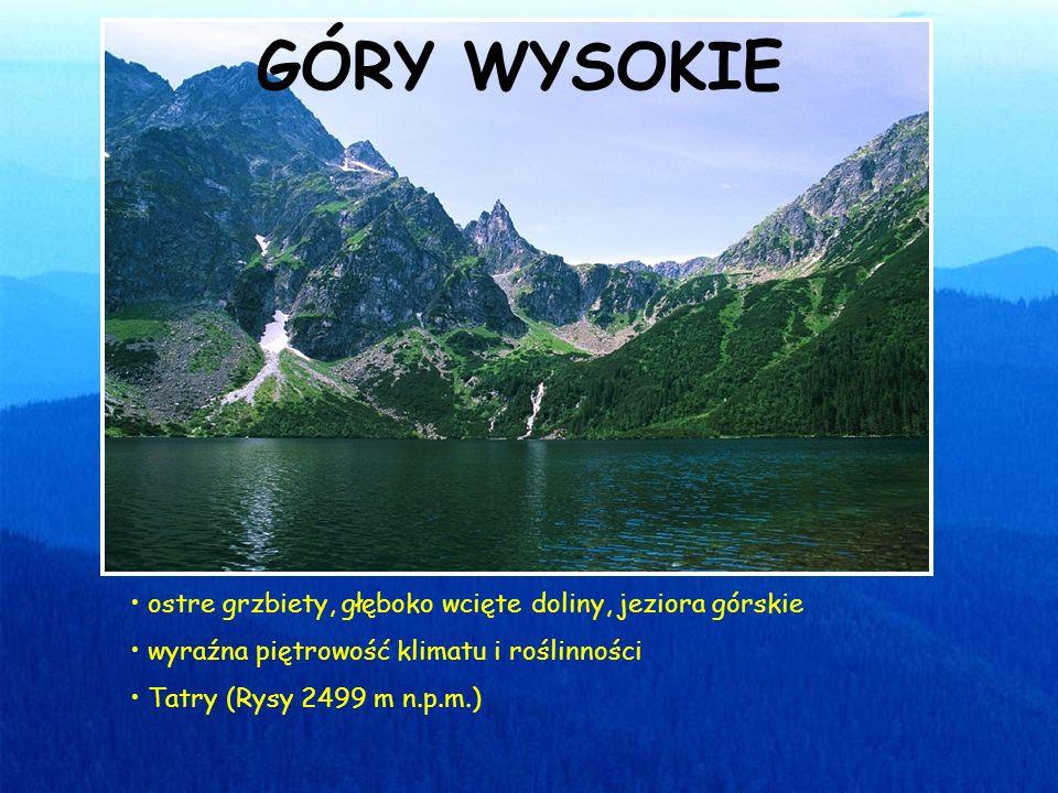 ostre grzbiety, głęboko wcięte doliny, jeziora górskie wyraźna piętrowość klimatu i roślinności Tatry (Rysy 2499 m n.p.m.) GÓRY WYSOKIE