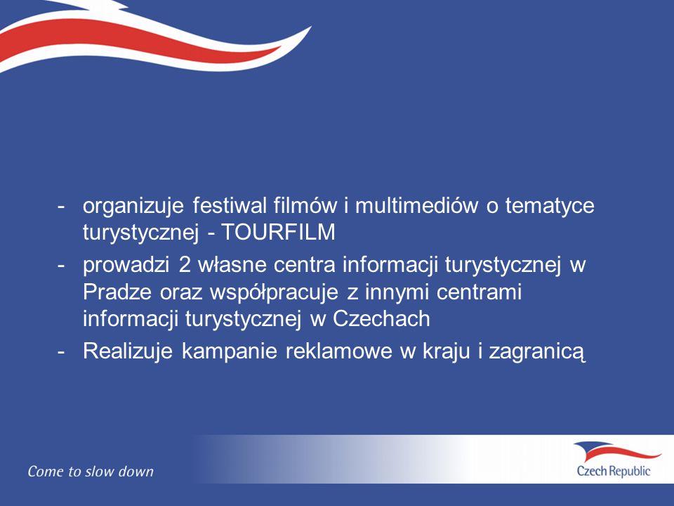 -organizuje festiwal filmów i multimediów o tematyce turystycznej - TOURFILM -prowadzi 2 własne centra informacji turystycznej w Pradze oraz współpracuje z innymi centrami informacji turystycznej w Czechach -Realizuje kampanie reklamowe w kraju i zagranicą