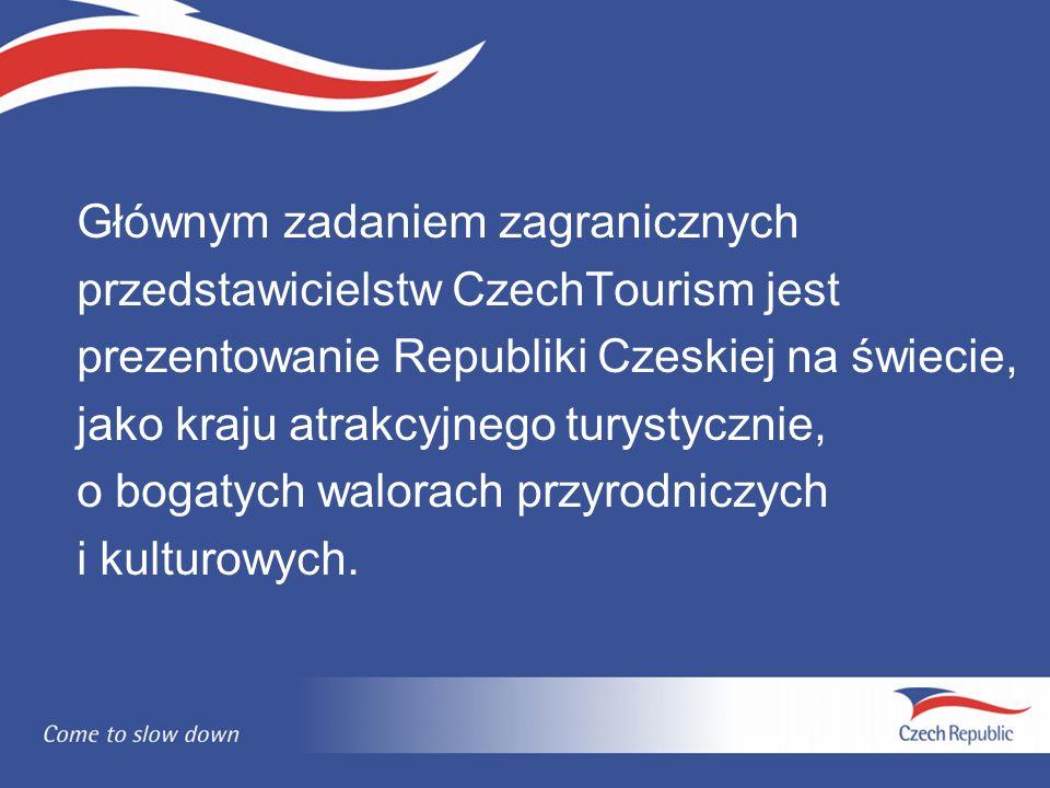 Głównym zadaniem zagranicznych przedstawicielstw CzechTourism jest prezentowanie Republiki Czeskiej na świecie, jako kraju atrakcyjnego turystycznie, o bogatych walorach przyrodniczych i kulturowych.