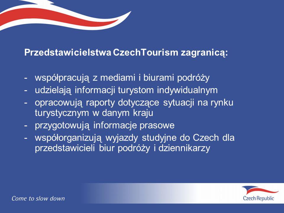 Przedstawicielstwa CzechTourism zagranicą: - współpracują z mediami i biurami podróży -udzielają informacji turystom indywidualnym -opracowują raporty dotyczące sytuacji na rynku turystycznym w danym kraju -przygotowują informacje prasowe -współorganizują wyjazdy studyjne do Czech dla przedstawicieli biur podróży i dziennikarzy