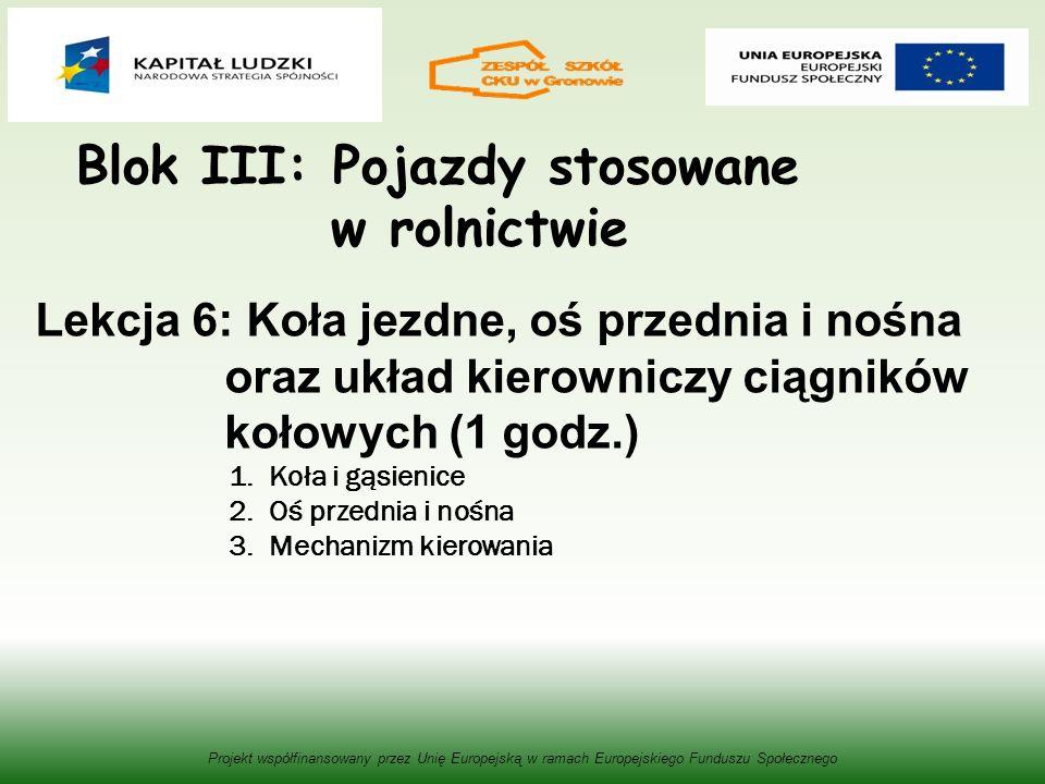 Blok III: Pojazdy stosowane w rolnictwie Projekt współfinansowany przez Unię Europejską w ramach Europejskiego Funduszu Społecznego Lekcja 6: Koła jezdne, oś przednia i nośna oraz układ kierowniczy ciągników kołowych (1 godz.) 1.Koła i gąsienice 2.Oś przednia i nośna 3.Mechanizm kierowania