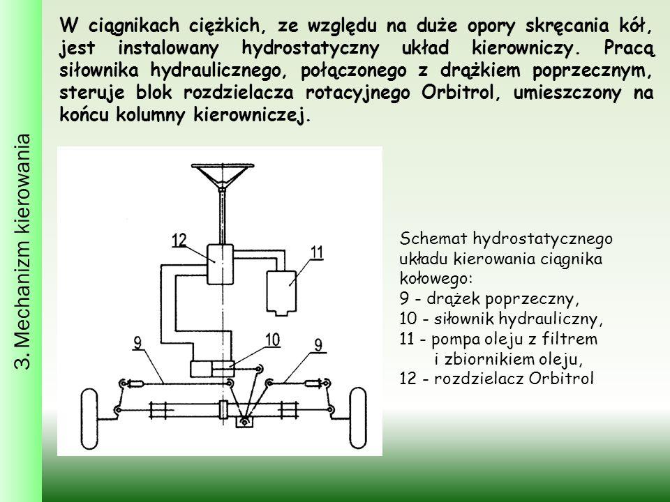 W ciągnikach ciężkich, ze względu na duże opory skręcania kół, jest instalowany hydrostatyczny układ kierowniczy.