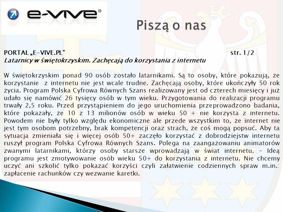 """PORTAL """"E-VIVE.PL str. 1/2 Latarnicy w świętokrzyskim."""