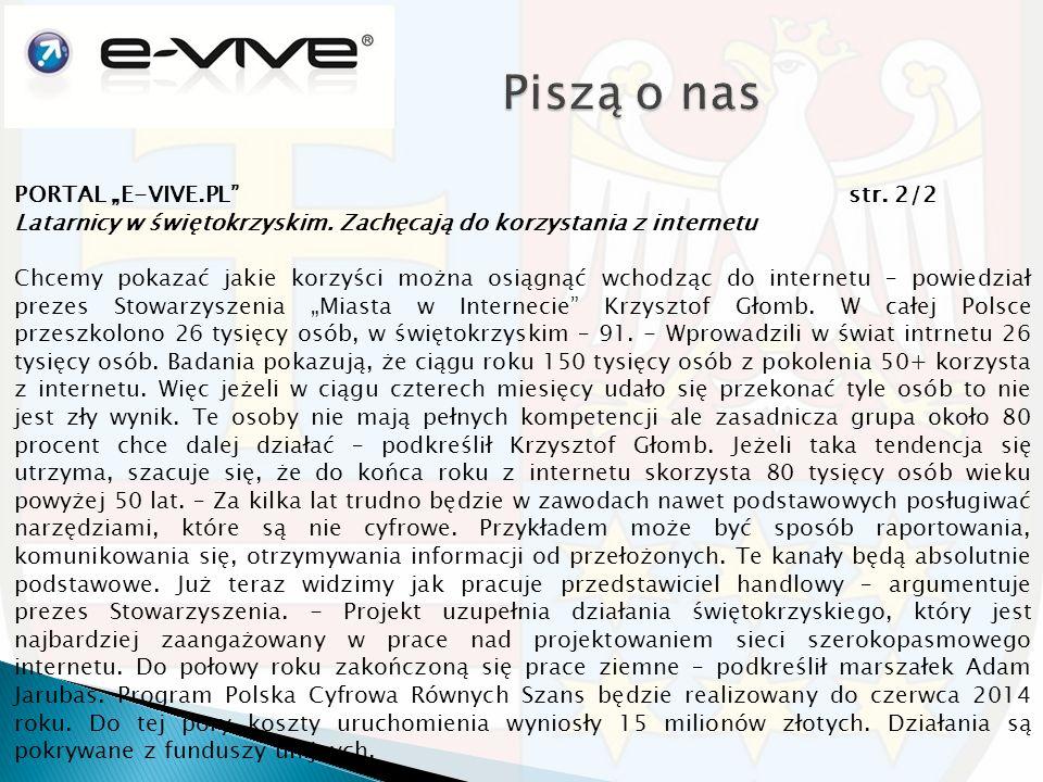 """PORTAL """"E-VIVE.PL str. 2/2 Latarnicy w świętokrzyskim."""