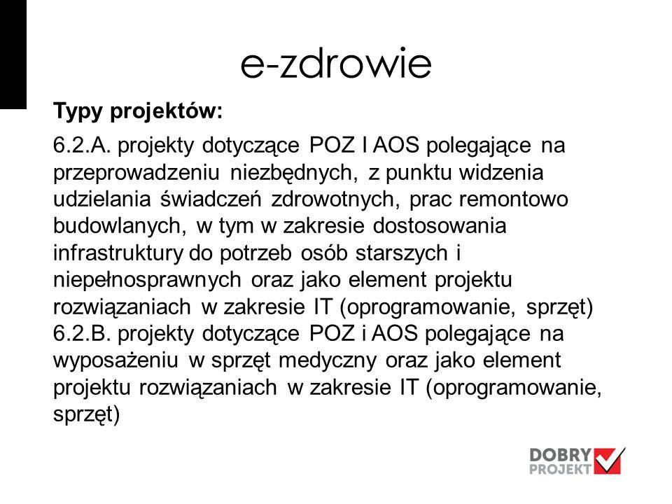 e-zdrowie Typy projektów: 6.2.A.