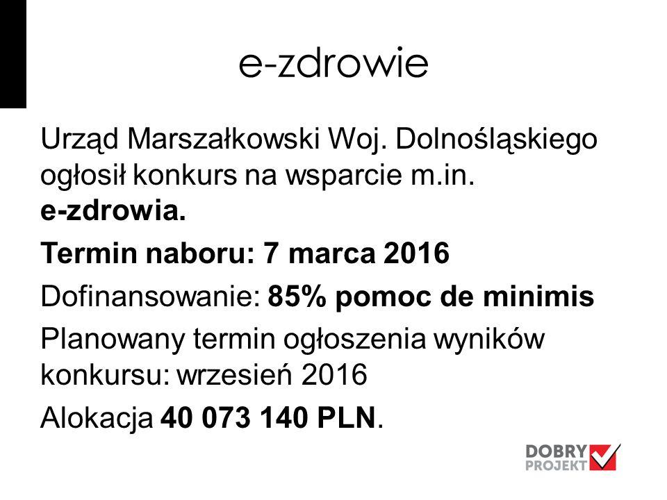 e-zdrowie Urząd Marszałkowski Woj. Dolnośląskiego ogłosił konkurs na wsparcie m.in.