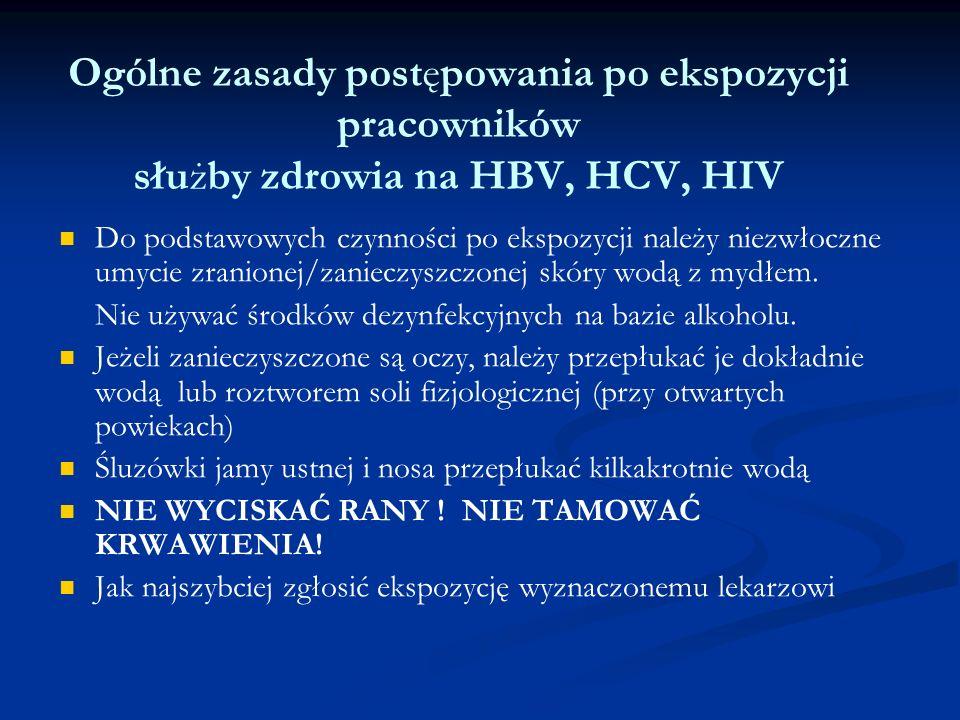 Powiadamianie o ekspozycji Fakt wystąpienia ekspozycji na zakażenie należy zgłosić przełożonemu lub lekarzowi dyżurnemu Fakt wystąpienia ekspozycji na zakażenie należy zgłosić przełożonemu lub lekarzowi dyżurnemu Wystąpienie zdarzenia należy odnotować w Rejestrze ekspozycji zawodowych na zakażenie HIV, HBV, HCV Wystąpienie zdarzenia należy odnotować w Rejestrze ekspozycji zawodowych na zakażenie HIV, HBV, HCV Osoba eksponowana wypełnia Indywidualną kartę ekspozycji zawodowej na zakażenie HIV, HBV, HCV Osoba eksponowana wypełnia Indywidualną kartę ekspozycji zawodowej na zakażenie HIV, HBV, HCV Osobę eksponowaną kieruje się do lekarza zakładowego, który wdraża postępowanie profilaktyczne i prowadzi jej obserwację przez 12 miesięcy Osobę eksponowaną kieruje się do lekarza zakładowego, który wdraża postępowanie profilaktyczne i prowadzi jej obserwację przez 12 miesięcy