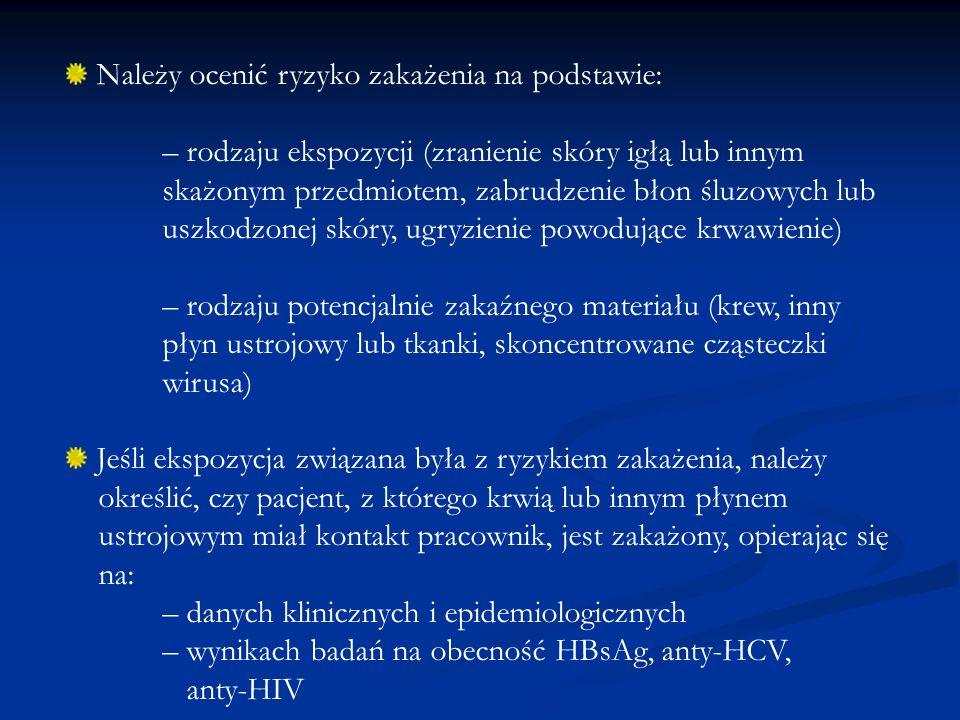 Przeprowadzić badanie pracownika narażonego na zakażenie – ocenić stan uodpornienia przeciwko HBV – zebrać wywiad dotyczący aktualnych chorób, przyjmowanych leków, ciąży i karmienia piersią Jeżeli istnieje ryzyko zakażenia po ekspozycji rozpocząć odpowiednią profilaktykę Pobierając krew od osoby będącej potencjalnym źródłem zakażenia należy pamiętać o uzyskaniu zgody na przeprowadzenie badań na oznaczenie przeciwciał anty-HIV, anty-HCV i HBsAg