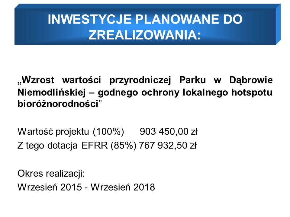 """"""" Wzrost wartości przyrodniczej Parku w Dąbrowie Niemodlińskiej – godnego ochrony lokalnego hotspotu bioróżnorodności Wartość projektu (100%) 903 450,00 zł Z tego dotacja EFRR (85%) 767 932,50 zł Okres realizacji: Wrzesień 2015 - Wrzesień 2018 INWESTYCJE PLANOWANE DO ZREALIZOWANIA:"""