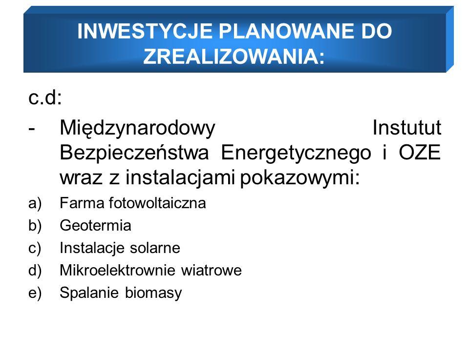 c.d: -Międzynarodowy Instutut Bezpieczeństwa Energetycznego i OZE wraz z instalacjami pokazowymi: a)Farma fotowoltaiczna b)Geotermia c)Instalacje solarne d)Mikroelektrownie wiatrowe e)Spalanie biomasy INWESTYCJE PLANOWANE DO ZREALIZOWANIA:
