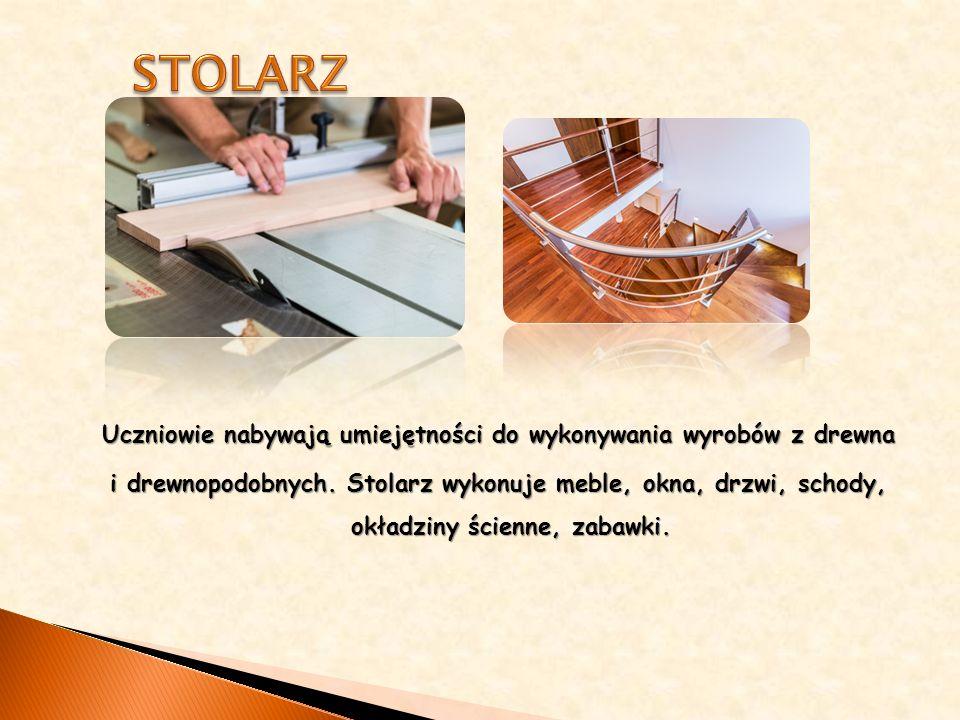 Uczniowie nabywają umiejętności do wykonywania wyrobów z drewna i drewnopodobnych.