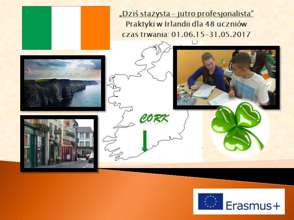 """""""Dziś stażysta – jutro profesjonalista Praktyki w Irlandii dla 48 uczniów czas trwania: 01.06.15-31.05.2017"""