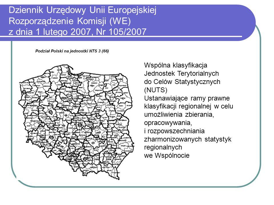 Dziennik Urzędowy Unii Europejskiej Rozporządzenie Komisji (WE) z dnia 1 lutego 2007, Nr 105/2007 Wspólna klasyfikacja Jednostek Terytorialnych do Celów Statystycznych (NUTS) Ustanawiające ramy prawne klasyfikacji regionalnej w celu umożliwienia zbierania, opracowywania, i rozpowszechniania zharmonizowanych statystyk regionalnych we Wspólnocie