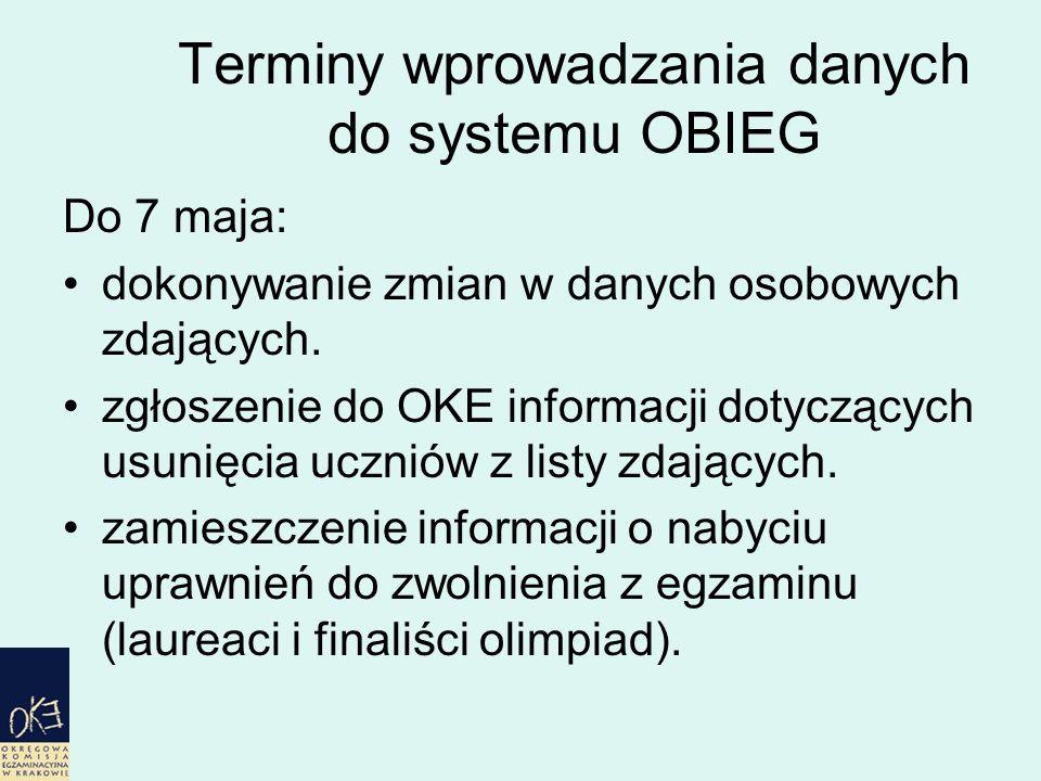 Terminy wprowadzania danych do systemu OBIEG Do 7 maja: dokonywanie zmian w danych osobowych zdających.