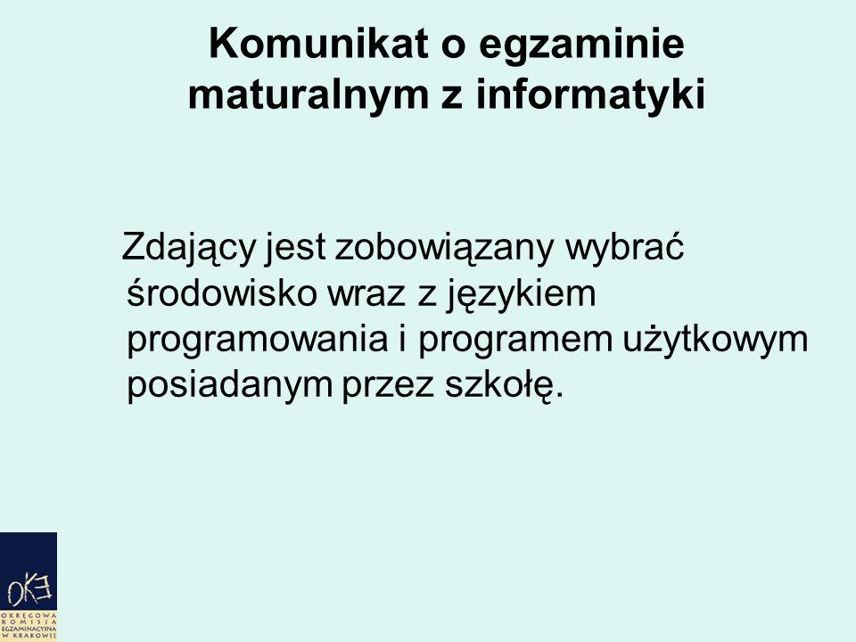 Komunikat o egzaminie maturalnym z informatyki Zdający jest zobowiązany wybrać środowisko wraz z językiem programowania i programem użytkowym posiadanym przez szkołę.