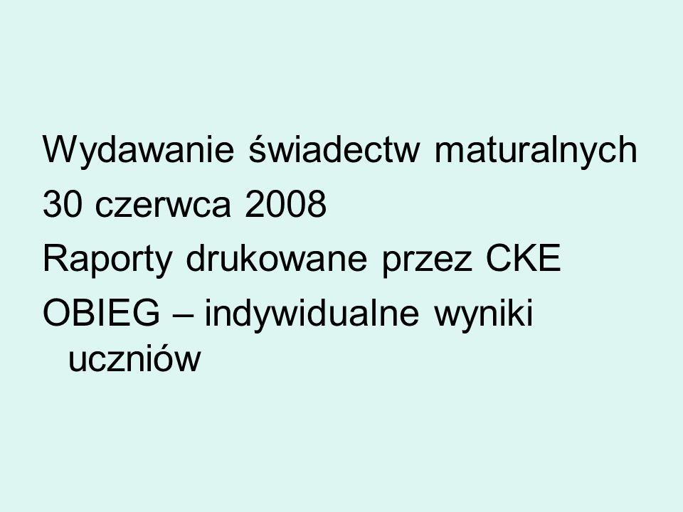 Wydawanie świadectw maturalnych 30 czerwca 2008 Raporty drukowane przez CKE OBIEG – indywidualne wyniki uczniów