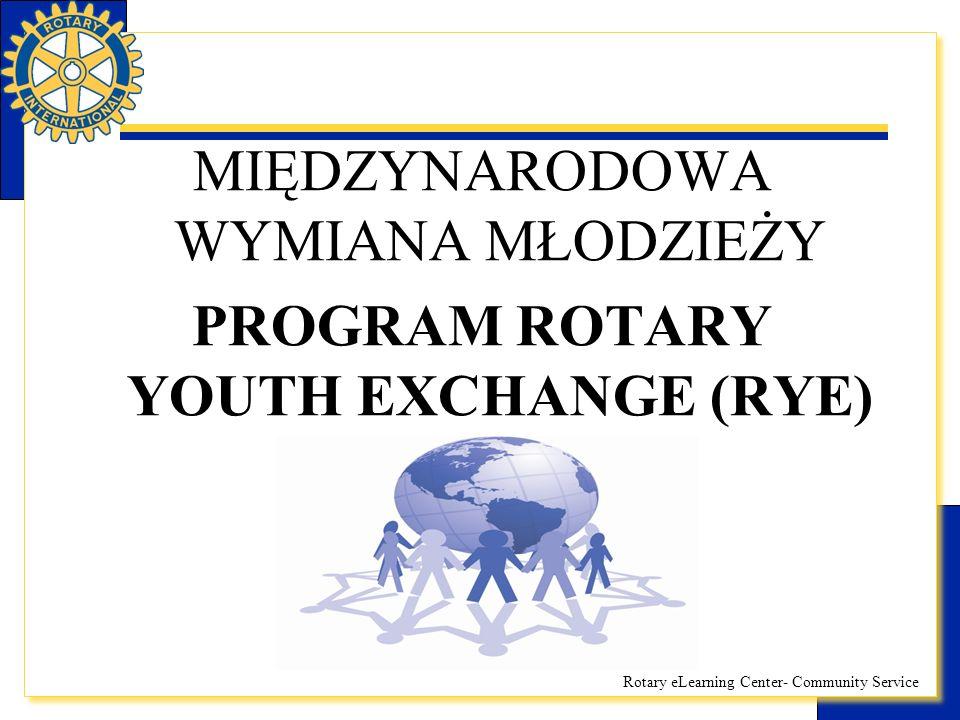 Rotary eLearning Center- Community Service PROGRAM ROTARY YOUTH EXCHANGE (RYE)  Powstał na początku w lat 20-tych ubiegłego wieku  Obecnie ponad 8 tysięcy młodych ludzi udaje się do ponad 80 krajów w ramach programu