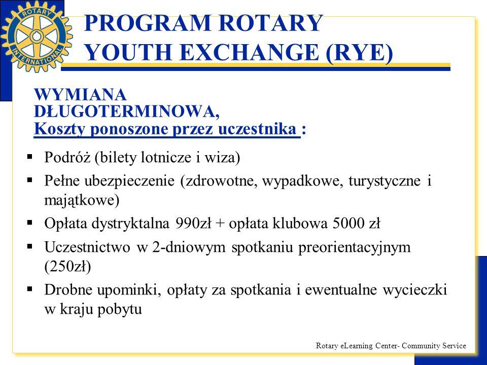 Rotary eLearning Center- Community Service PROGRAM ROTARY YOUTH EXCHANGE (RYE) WYMIANA DŁUGOTERMINOWA, Koszty ponoszone przez uczestnika :  Podróż (b