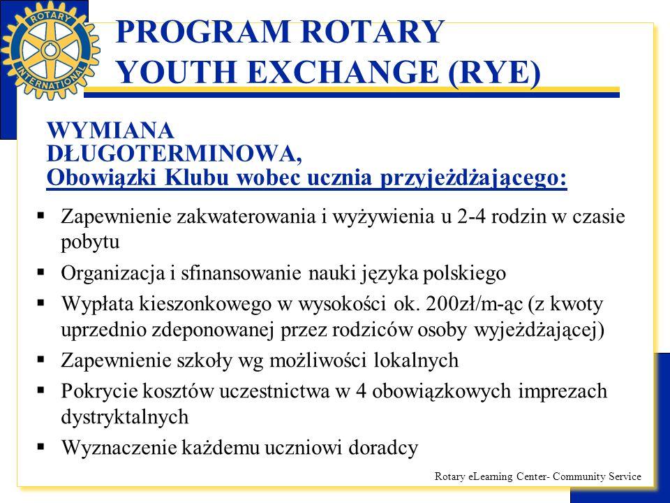 Rotary eLearning Center- Community Service PROGRAM ROTARY YOUTH EXCHANGE (RYE) WYMIANA DŁUGOTERMINOWA, Obowiązki Klubu wobec ucznia przyjeżdżającego: