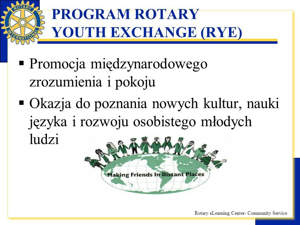Rotary eLearning Center- Community Service PROGRAM ROTARY YOUTH EXCHANGE (RYE) WYMIANA KRÓTKOTERMINOWA:  Pobyt wypoczynkowy, często w formie obozu  Wiek uczestników 16-24 lata  Czas trwania: ok.