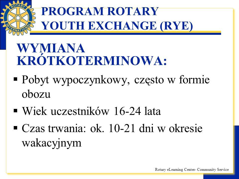 Rotary eLearning Center- Community Service PROGRAM ROTARY YOUTH EXCHANGE (RYE) WYMIANA KRÓTKOTERMINOWA: Koszty pokrywane przez uczestnika: –Opłata aplikacyjna 350zł (w przypadku niezakwalifikowania kandydata lub jego własnej rezygnacji zwrotowi podlega kwota 300zł) –Dojazd i powrót –Ubezpieczenie –Kieszonkowe uczestnika POZOSTAŁE KOSZTY POKRYWA KLUB ROTARY ORGANIZUJĄCY OBÓZ.