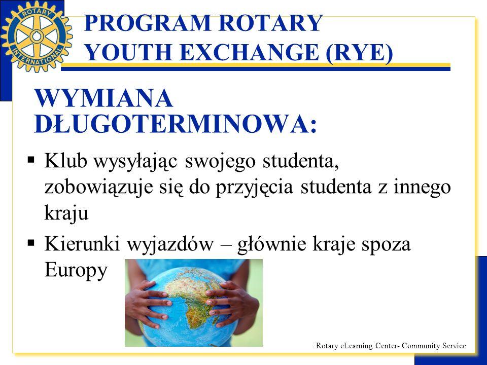 Rotary eLearning Center- Community Service PROGRAM ROTARY YOUTH EXCHANGE (RYE) WYMIANA DŁUGOTERMINOWA, Życie studenta na wymianie:  zakwaterowanie u rodzin rotariańskich lub innych wybranych przez Klub Rotary  Zapewnione wyżywienie i udział w życiu rodzinnym i środowiskowym rodziny  Uczęszczanie do miejscowej szkoły (opłacanej przez Klub w razie takiej potrzeby)  Kieszonkowe od Klubu (ok.200zł/m-ąc)