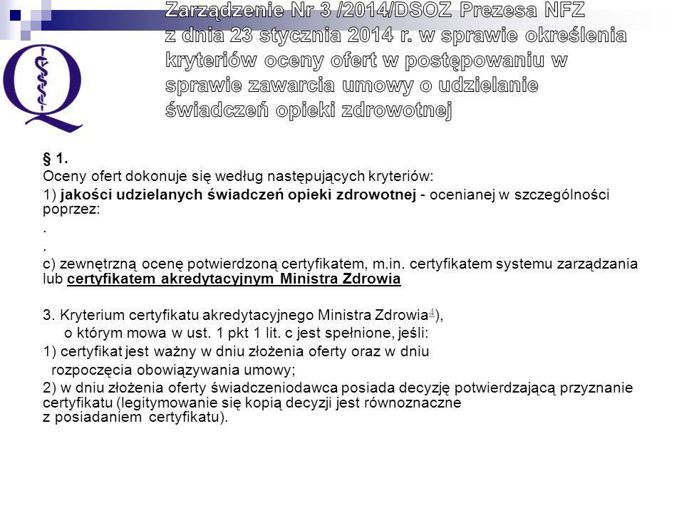 Certyfikat akredytacyjny Ministra Zdrowia wydawany przez Centrum Monitorowania Jakości na podstawie ustawy z dnia 6 listopada 2008 r.