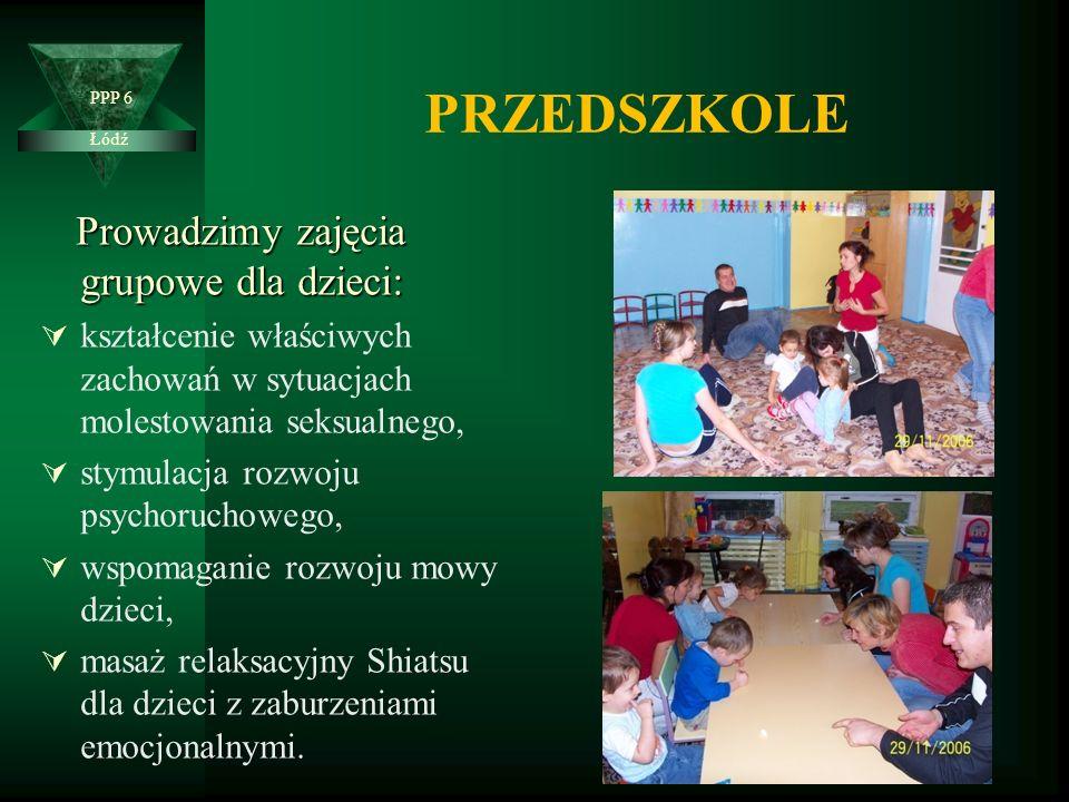 Prowadzimy zajęcia grupowe dla dzieci:  kształcenie właściwych zachowań w sytuacjach molestowania seksualnego,  stymulacja rozwoju psychoruchowego,  wspomaganie rozwoju mowy dzieci,  masaż relaksacyjny Shiatsu dla dzieci z zaburzeniami emocjonalnymi.