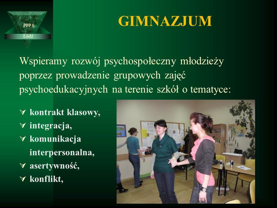 GIMNAZJUM Wspieramy rozwój psychospołeczny młodzieży poprzez prowadzenie grupowych zajęć psychoedukacyjnych na terenie szkół o tematyce:  kontrakt klasowy,  integracja,  komunikacja interpersonalna,  asertywność,  konflikt, PPP 6 Łódź  agresja,  radzenie sobie ze stresem,  edukacja seksualna,  uzależnienia,  sekty,  zajęcia zawodoznawcze.