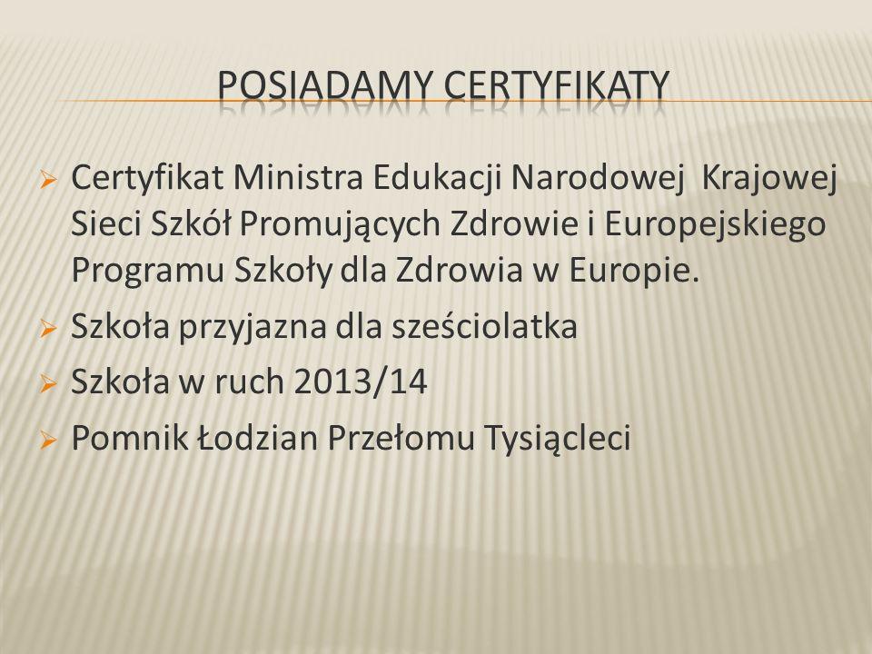  Certyfikat Ministra Edukacji Narodowej Krajowej Sieci Szkół Promujących Zdrowie i Europejskiego Programu Szkoły dla Zdrowia w Europie.  Szkoła przy