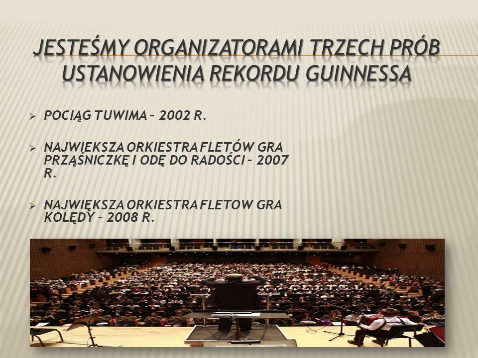  POCIĄG TUWIMA – 2002 R.  NAJWIEKSZA ORKIESTRA FLETÓW GRA PRZĄŚNICZKĘ I ODĘ DO RADOŚCI – 2007 R.
