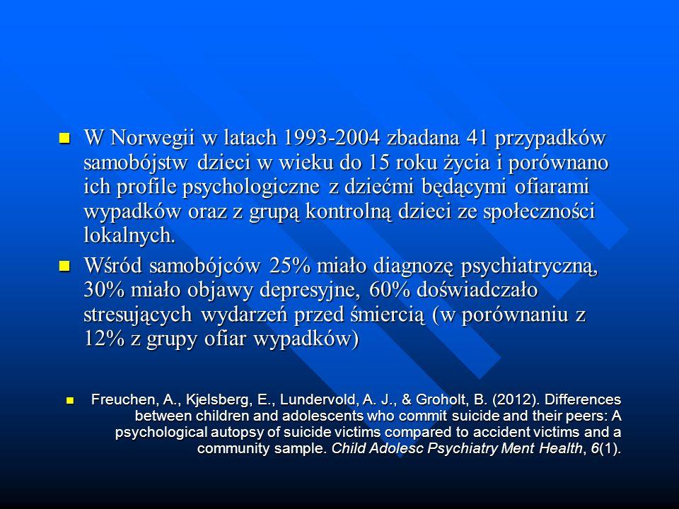 W Norwegii w latach 1993-2004 zbadana 41 przypadków samobójstw dzieci w wieku do 15 roku życia i porównano ich profile psychologiczne z dziećmi będącymi ofiarami wypadków oraz z grupą kontrolną dzieci ze społeczności lokalnych.