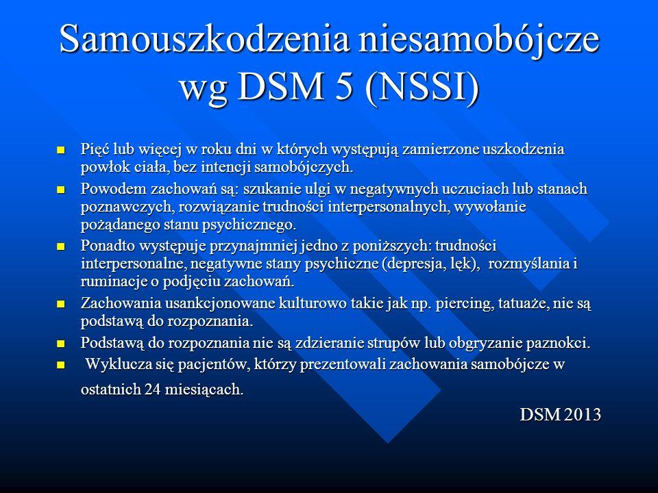 Samouszkodzenia niesamobójcze wg DSM 5 (NSSI) Pięć lub więcej w roku dni w których występują zamierzone uszkodzenia powłok ciała, bez intencji samobójczych.